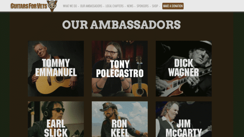 Tony Polecastro becomes Guitars for Vets Ambassador